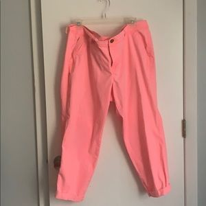 Old Navy Neon coral boyfriend fit khakis